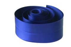 Blue ribbon. Blue curly satin ribbon Royalty Free Stock Photo