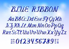 Blue ribbon alphabet letters and numbers on light blue background Royalty Free Stock Image
