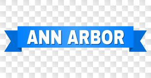 Blue Ribbon with ANN ARBOR Title. ANN ARBOR text on a ribbon. Designed with white caption and blue tape. Vector banner with ANN ARBOR tag on a transparent vector illustration