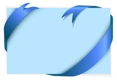 Blue ribbon around blank light blue paper Stock Image
