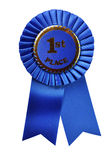 Blue Ribbon Award (with clipping path). Blue ribbon award isolated on white background with clipping path Royalty Free Stock Photography