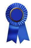 Blue Ribbon Award (with clipping path). Blue ribbon award blank with copy space.  Isolated on white background with clipping path Royalty Free Stock Photo