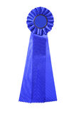 Blue ribbon award isolated on white Royalty Free Stock Photography