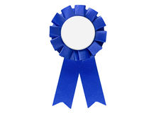 Blue ribbon award tag for sales, sports, retail to display best. Items or winners. Isolated on white with space for text Stock Photos
