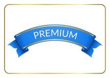 Blue ribbon banner premium white vector illustration