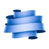 Blue ribbon banner on white background Stock Image