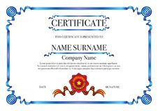 Blue ribbon border certificate for excellence performance with red stamp Royalty Free Stock Photo