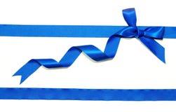 Blue ribbon and bow Stock Photo