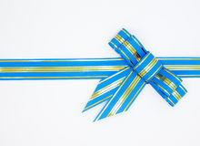 Blue ribbon with bow. On white background Royalty Free Stock Photos