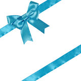 Blue ribbon with bow Stock Images