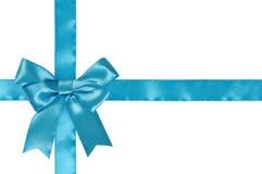 Blue ribbon with bow Stock Photos