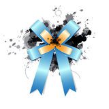 Blue ribbon bow. On ink splash Royalty Free Stock Photography