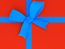 Blue ribbon and bow. Royalty Free Stock Image