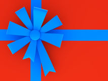 Blue ribbon and bow. Royalty Free Stock Photos
