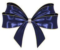 Blue ribbon bow 3d render. Blue golden ribbon bow isolated over the white background Royalty Free Stock Photo