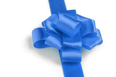 Blue ribbon bow angle photo Stock Images