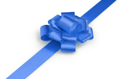 Blue ribbon bow angle photo Stock Image