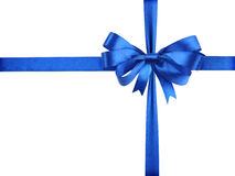Blue ribbon with a bow as a gift on a white