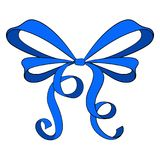 Blue ribbon bow. Vector illustration  on white background Royalty Free Stock Image