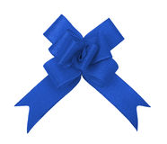 Blue ribbon bow cutout Stock Image