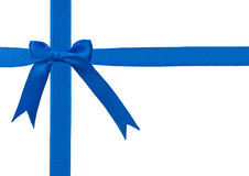 Blue ribbon with a bow Royalty Free Stock Photo