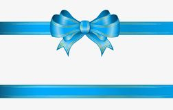 Blue ribbon and bow. Blue ribbon and elegant bow with gold lines Royalty Free Stock Photos
