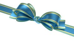 Blue ribbon and bow. Blue ribbon and elegant bow with gold lines for packing gifts for your party. Symbol of packing presents for birthday party, christmas Royalty Free Stock Images