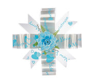 Blue ribbon bow with flower isolated on white Royalty Free Stock Image