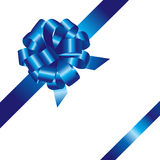 Blue ribbon and bow isolated Royalty Free Stock Photography