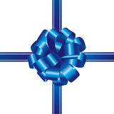 Blue ribbon and bow isolated Stock Image