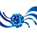 Blue ribbon and bow isolated Stock Photo