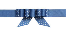 Blue ribbon with a bow stock image