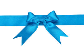 Blue ribbon with bow Stock Photos