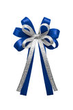 Blue ribbon bow isolated on white background. Royalty Free Stock Photography