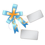 Blue ribbon bow and label Royalty Free Stock Photos