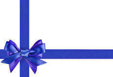 Blue ribbon bow like a gift Stock Image