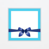 Blue ribbon bow on postcard Vector illustration. Trendy postcard template with space for text bandaged a blue ribbon with bow Empty invitation in realistic style Royalty Free Stock Image