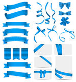 Blue Ribbon and Bow Set. Vector illustration Royalty Free Stock Photos