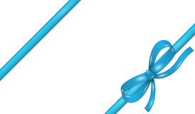 Blue ribbon with bow. On white background Royalty Free Stock Photo