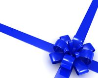 Blue ribbon bow on a white background. 3d image Royalty Free Stock Photo