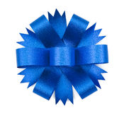 Blue ribbon bow Stock Images