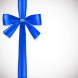 Blue ribbon with bow. On white background Royalty Free Stock Image