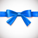 Blue ribbon with bow. On white background Stock Photography