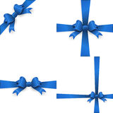 Blue ribbon with bow on a white background. EPS 10 Stock Photo