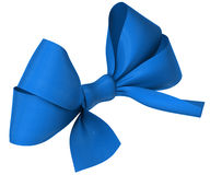 Blue ribbon bow on white background Royalty Free Stock Photos