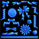 Blue ribbon bows, banners, embellishments Royalty Free Stock Images