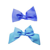 Blue ribbon bows tie on white background Royalty Free Stock Photo