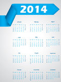 Blue ribbon calendar design for 2014 Stock Image