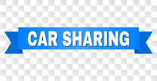 Blue Ribbon with CAR SHARING Text. CAR SHARING text on a ribbon. Designed with white title and blue stripe. Vector banner with CAR SHARING tag on a transparent royalty free illustration