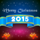 Blue ribbon 2014, Christmas background. And candles vector illustration